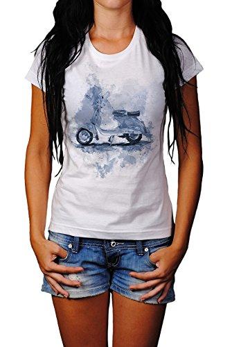 Vespa Lady T- Shirt, Stylisch aus Paul Sinus Aquarell Cyan Style