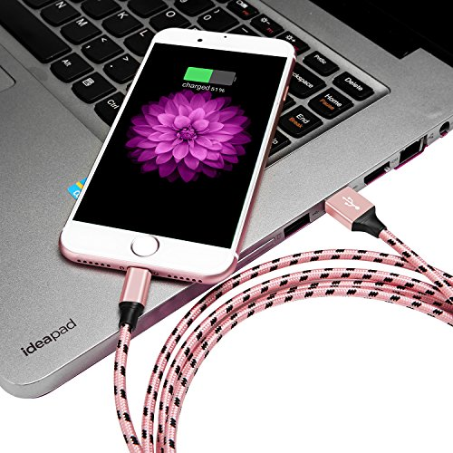 JOOMFEEN 4pack 3ft 3ft 6ft 10ft Tangle-Free 8 Pin Sync Charger Cord iPhone Charger Cable for iPhone X/8/7/7 Plus/6/6S/6 Plus/6SPlus/5/5S/5C/SE, iPad Mini/Air iPod IOS11-Black/Rose Gold