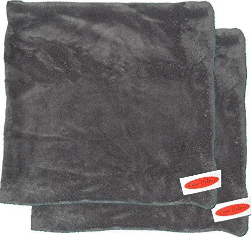Unbekannt 2 Stück Fleece Kissenbezug, Kissenhülle, Kissenbezüge, 40 x 40 cm, Microfaser, Flausch Plüsch (grau)