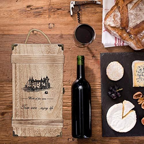 Gedourain Caja de Almacenamiento de Madera, Caja de Almacenamiento de Vino portátil Duradera Retro con Cuerda para envasado de Vino Tinto