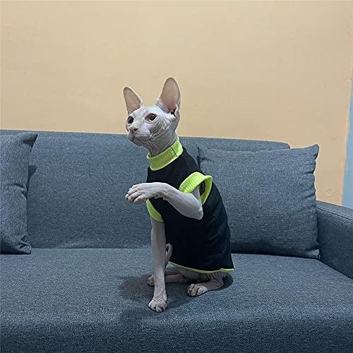 NELIT Devon Rex Gato Camiseta Verano algodón hipoalergénico Sphynx Gato Ropa-Negro Vest_L
