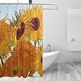 Duschvorhang 152,4 x 182,9 cm, Van Gogh Sonnenblumen-Gardinen, schimmelresistent, wasserdicht, Blumenmuster, für Badedekorationen, mit 12 Kunststoffhaken