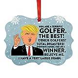 Andaz Press President Donald Trump Fancy Frame Keepsake Christmas Ornament Gag Gift, Terrific Golfer, 1-Pack, Funny Metal Holiday Present Ideas Republican Political Satire for Family