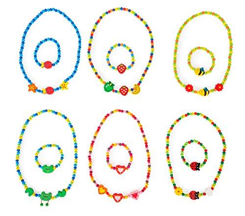 small foot 10795 sieradenset van kleurrijke houten kralen, zes verschillende kettingen met schattige hangers en bijpassende armbanden
