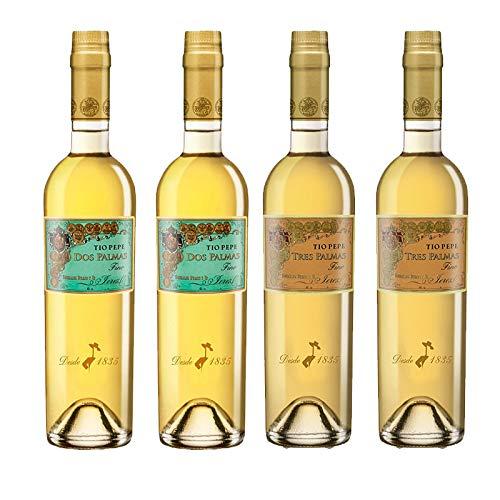 Vinos Amontillados Fino Dos Palmas y Tres Palmas - D.O. Jerez - Mezclanza Gonzalez Byass (Pack de 4 botellas)