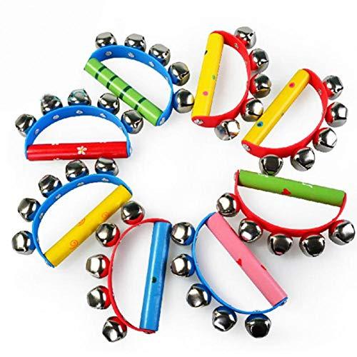 AMOYER 3pcs Musikinstrument Hand Tambourine Klingel Schütteln Tambourine Rhythmusinstrument Für Kid Zufällige Farbe