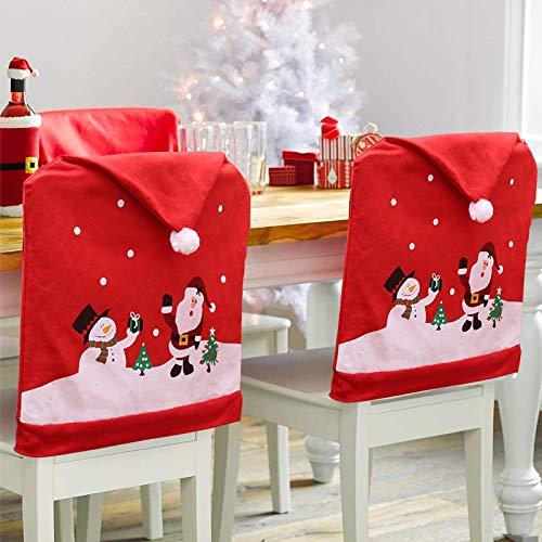 KARAA 2Pcs Stuhlhussen Weihnachten Rot Stuhlbezug Weihnachtsmannm Schneemann Weihnachtsdeko Stuhlabdeckung für Stuhlrücken Wetterfest Abendessen Party Bankett