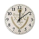24Kマジック ブルーノマーズ 壁掛け時計 木製 掛け時計 円形 連続秒針 見やすい 静音 直径約34CM 掛時計 かわいい インテリア ベッドルーム キッチン プレゼント 贈り物