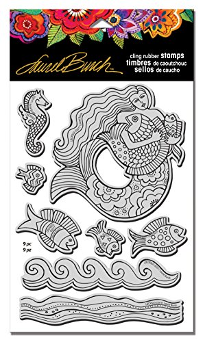 Stampendous Rubber W/Template Laurel Burch Stamp Set, Mermaid Fish