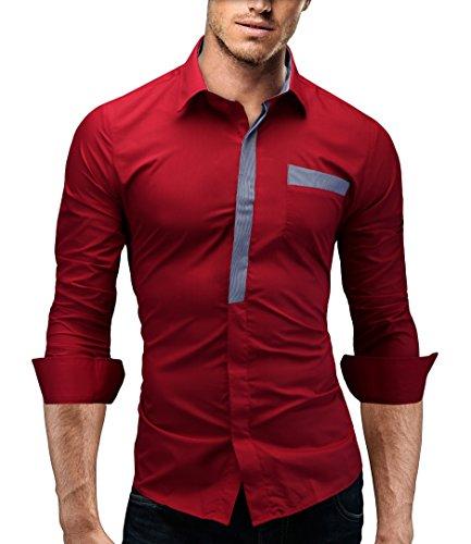 MERISH Herrenhemd Hemd Slim-Fit 4 Farben Größen S-XXL Trend Neu 94 Rot XXL