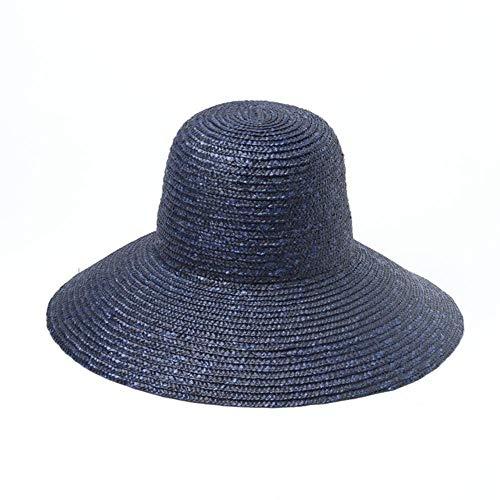 WYB donna visiera Colorato tappi di paglia a forma di vaso grande gronda cappello di paglia all'aperto di viaggio ombrellone spiaggia di paglia cappello Blu