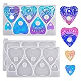 2PCS Ouija Board Resin Molds,Planchette Silicone Molds,Heart Shaped Epoxy Molds for Jewelry Making,DIY Pendant, Keychain,Home Decorations