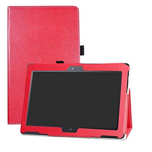 LFDZ BQ M10 Funda, Soporte Cuero con Slim PU Funda Caso Case para 10.1' bq Aquaris M10 FullHD FHD HD/Aquaris M10 Ubuntu Edition Tablet,Rojo