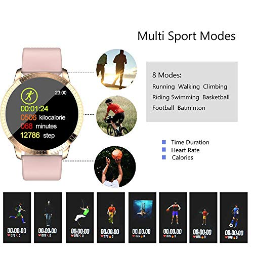 TURNMEON Women's Smart Watch, Waterproof Fitness Tracker, Color Touchscreen Fashion Smartwatch with Heart Rate, Blood Pressure, Sleep, Female Menstrual Record, Pedometer, Birthday