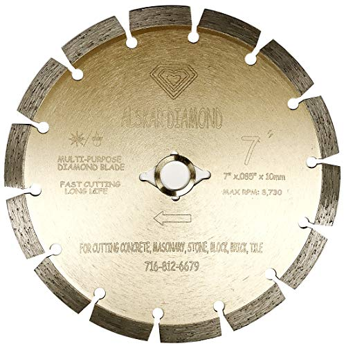 ALSKAR DIAMOND USA ADLSS 7 inch Dry or Wet Cutting General Purpose Power Saw Segmented Diamond Blades for Concrete Stone Brick Masonry (7')