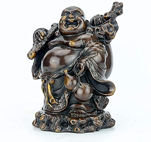 Laughing Buddha Statues Home Decoration Crafts Pure Chinese Feng Shui Decor Prosperity Figurines Hand Carved Home Office Wealth Good Luck 428
