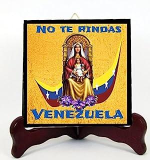 Gifts by Lulee, LLC Nuestra Senora de Coromoto Patrona de Venezuela Losa o Altar de Porcelana Hecha a Mano Incluye Caballete