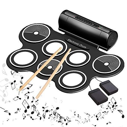 Lzour Kits de batería eléctrica para niños Roll-up de Tambor electrónico portátil...
