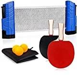 Funsraying Anywhere Ping Pong Equipment to-Go Includes Retractable Net Post, 2 Ping Pong Paddles,3 pcs Balls,...