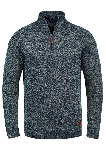 Blend Danovan Herren Strickpullover Troyer Feinstrick Pullover mit Stehkragen und Reißverschluss, Größe:L, Farbe:Navy (70230)