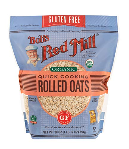 Bob's Red Mill Oats, Gluten Free Organic Quick Cooking, 28-Ounce (Pack of 4)