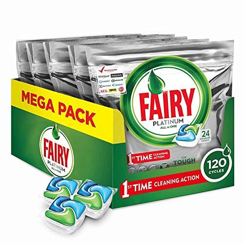 Fairy Platinum 120 Pastiglie per Lavastoviglie, Detersivo in Confezione da 120 Caps, 24 x 5