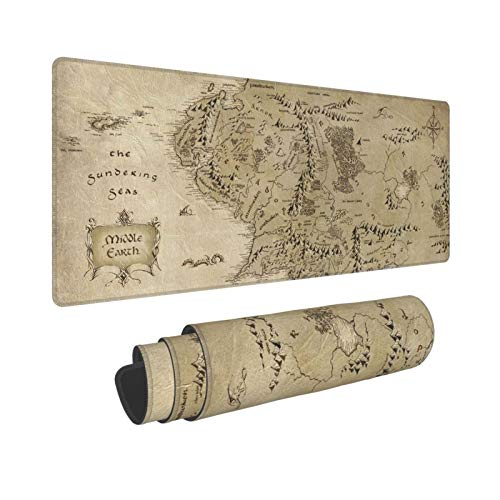Vintage Middle Earth Map Gaming Mouse Pad XL, Extended Large Mouse Mat Desk Pad, Stitched Edges Mousepad, Long Non-Slip Rubber Base Mice Pad, 31.5 X 11.8 Inch