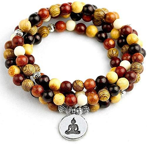 PPQKKYD Collar Cuentas de Madera Mixtas Naturales de 6mm, joyería Hecha a Mano para Mujer, Collar de múltiples Capas de Lotus 108, Collar de Cuentas de oración, Collar de Mala Yoga para Hombres