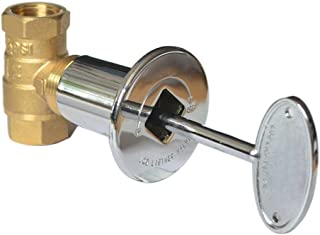 onlyfire Products 1/2 Inch Straight Quarter-Turn Ball Shut Off Valve Kit with Chrome Floor Plate and 3-Inch Key