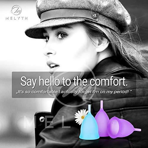 Melyth Menstruationstassen – (2x Groß & 1x Klein) – Kostenlose Faltbar Tragbare Reinigungsbecher – Finde deine Perfekte Passform Beste Alternative zu Tampons und Stoffbinden - 4