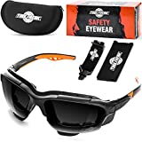 ToolFreak Spoggles, Safety Glasses and Protective Goggles, Eyewear Foam Padded for Comfort and Better Protection, ANSI Z87 Rated, Smoke Tinted Polycarbonate Lens with Impact and UV Protection