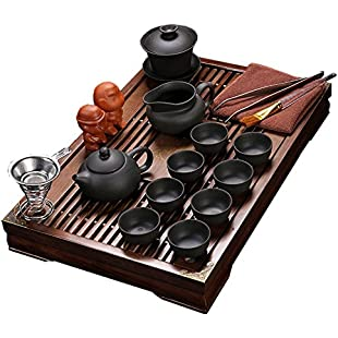 Customer reviews ufengke® Exquisite Ceramic Porcelain kungfu Tea Cup Set with Lid and Wooden Tea Tray-E