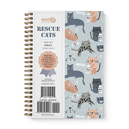 to Do List Daily Task Checklist Planner Time Management Notebook by Bright Day Non Dated Flex Cover Spiral Organizer 8.25 x 6.25 (Rescue Cats)