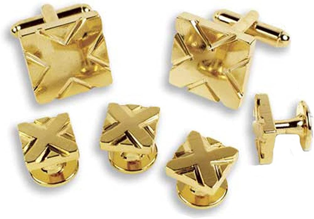 EZ Tuxedo Gold Japan Maker New Square with and X Cufflinks supreme Studs Detail