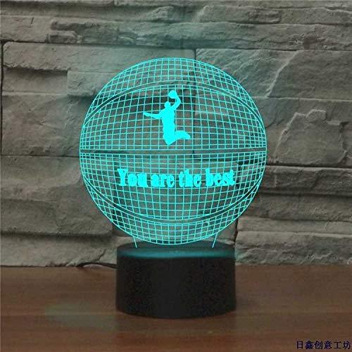 Creativo 3D Baloncesto noche luz 7 colores cambiando USB Power Touch interruptor decoración lámpara de ilusión óptica lámpara LED mesa escritorio Brithday niños regalo de Navidad