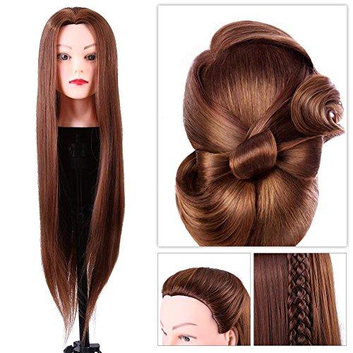 Kapper oefenkop met synthetisch haar, kleur: bruin, inclusief standaard voor tafelklemmen