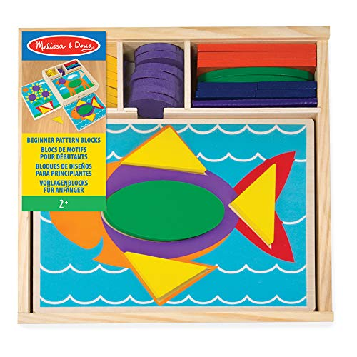 """Melissa & Doug Beginner Wooden Pattern Blocks Educational Toy, 5 Double-Sided Scenes and 30 Shapes, 10.65"""" H x 10.65"""" W x 2.3"""" L (Beginning Skills and Activities)"""