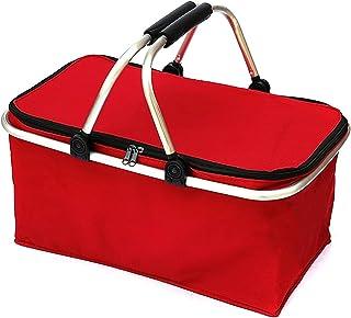 WZHZJ 30L Folding Picnic Camping Basket Insulated Shopping Cooler Home Storage Basket Hamper Basket Bag Box Outdoor Picnic...