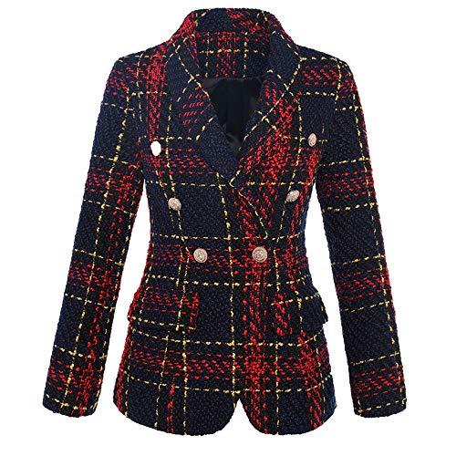 Zhongsufei-LC Chaqueta Moto de Cuero para Mujer de Las Mujeres con Muesca Solapa de Tela Escocesa Doble de Pecho Chaqueta Formal Blazer para Primavera y otoño (Color : Photo Color, tamaño : S)