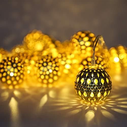 LED Globe Lichterketten, Dekorative Marokkanische Kugeln, 20 Große Golden Geschnitzt Globen, Batteriebetrieben mit Timer