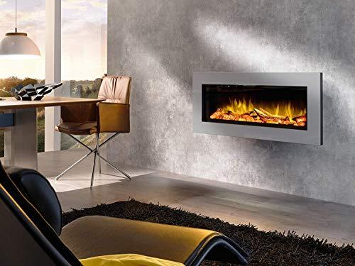 Elektrokamin Premium wodtke feel the flame® No.1 prime grey - keramische Holzscheite (LED Flammeneffekt, 20 W Stromverbrauch, max. 2 KW Heizleistung, wartungsfrei, Fernbedienung inkl.)