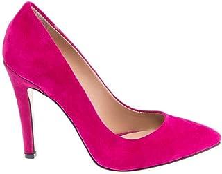 Büyük Numara Fuşya Süet Stiletto Topuklu Ayakkabı