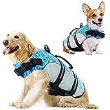 KOESON Dog Life Jacket Dog Safety Life Vest, Ripstop Pet Flotation Lifesaver with Rescue Handle & Reflective Stripes, Adjustable Dog Swimming Vest Preserver for Small Medium Large Dogs Blue XXL