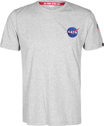 ALPHA INDUSTRIES 176507-17 T-Shirt, Grigio/Blu/Bianco, L Uomo