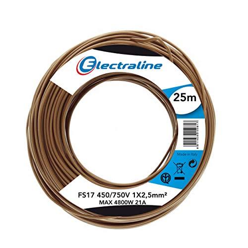 Electraline 13152Cable unipolar FS17, sección 1x 2.5mm², Amarillo/Verde, 25m