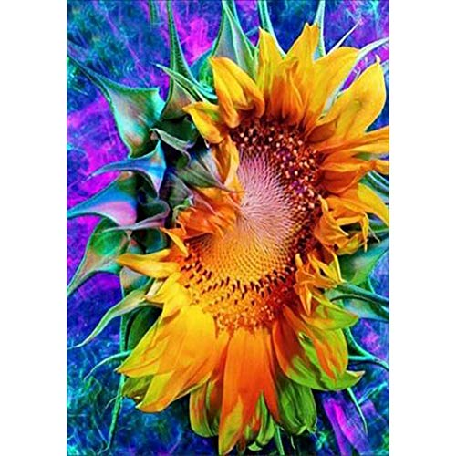 ArmanII DIY 5D Diamantschilderset, volledige ronde driedelige embroidery Cross Stitch Pictures Kunstwerk Home Wall Decor Sunflower 11,8 x 15,7 in 1 verpakking