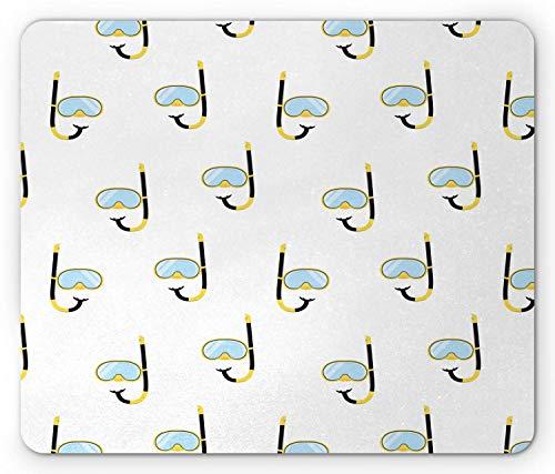 Spiel Mauspad,Mausmatte,Tauchmaus-Pad,Tauchmaske Und Schnorchel Grafik Unterwasserschwimmen Hobby Aktivitätsthema,Matte Mäuse Mousepad Gaming Mauspads Für Büro & Zuhause,Baby Blau Gelb Weiß