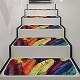 JLCP rutschfeste Stufenmatten, Bunte Feder Selbstklebender Treppenstufen-Teppich Schlafzimmer Badezimmer Tür Boden Weich Und Bequem Stufen Teppiche Protector Matten,70X22cm,15pcs