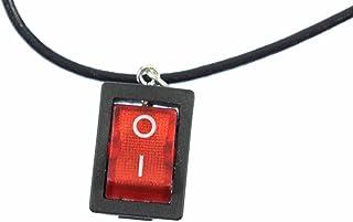 Miniblings Ein/Aus Schalter Kette Lichtschalter 45cm Upcycling Vintage Leder - Handmade Modeschmuck - Gliederkette versilbert