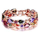 QIANSE s Day Bracelets Gifts for Her for Women Mona Lisa Rose Gold Plated Bracelet Multicolor Cubic Zirconia Bracelets for Women Jewelry for Christmas Birthday Gifts for Mom Wife Girlfriend